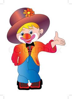 Abbildung fröhlichen Clown ist auf weißem Hintergrund isoliert