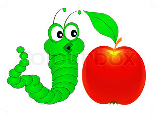 illustration green surprised caterpillar looks at apple