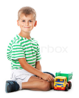 Boy holding car  isolated on white background