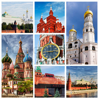 collage composed of images of Moscow Kremlin and churches