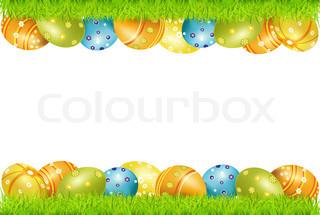 Vektor rammen af påskeæg og grønt græs