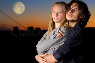 attractive couple in twilight outdoor