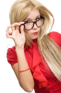 beautiful secretary woman glasses isolated