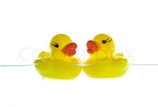 two rubber ducks floating on a water