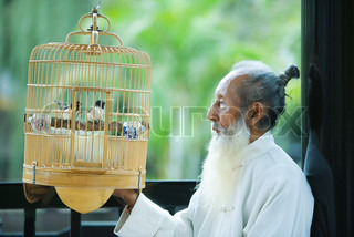 ©James Hardy/AltoPress/Maxppp ; Elderly man in traditional Chinese clothing, looking at birds in bird cage