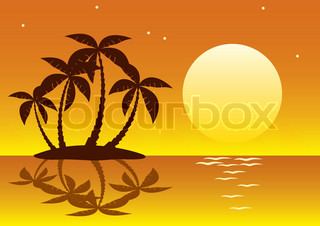 vector illustration of tropical palm island in moon or sun light