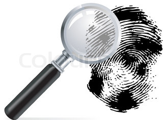 Magnifier with scaned fingerprint on white background