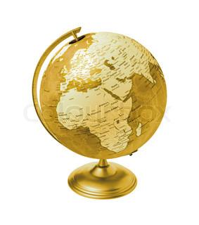 Vintage Globus isoliert auf weißem Hintergrund