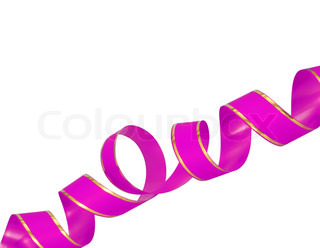 pink ribbon curl isolated on white background