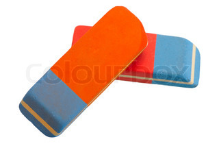 Two red and blue eraser on a white background, isolated