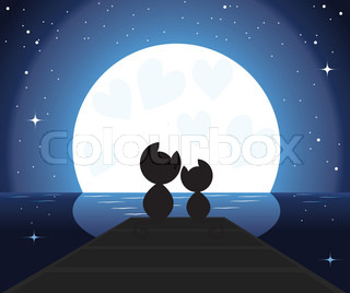vector illustration of two cats in love watching on the moon