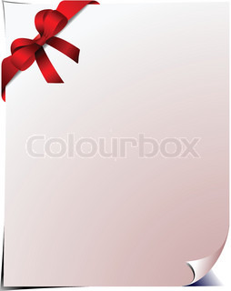 Blank page with red bow. Vector illustration