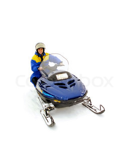 Man  riding fast snowmobile. Winter active sport. Isolated at white background