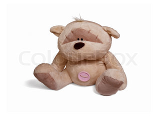Isolated teddy bear sitting at white background. Soft children toy