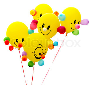 Smiling colorful balloon on white background