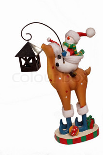 Isolated snowman riding deer at white backgroung. Xmas gift