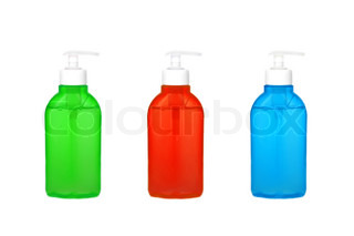 Multicolor bottle with liquid soap isolated on white