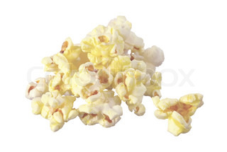 pop corn in caramel syrup isolated on white background