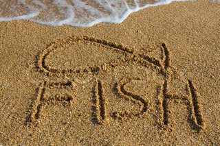 A fish symbol drawn in the sand, travel background.