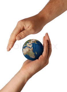 Planet the earth in human hands. Concept about preservation of the environment