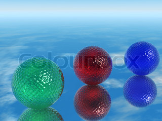 Color glass spheres. Three color glass spheres with a ridge structure on a smooth surface
