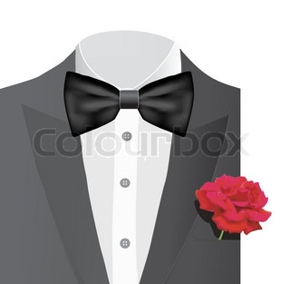 Bow tie with rose, vector illustration