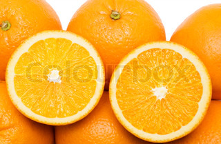 close-up view of oranges