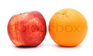 red apple and orange isolated over white background