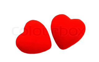 two hearts isolated over white background