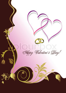 Greeting floral valentine`s day with hearts. Vector.