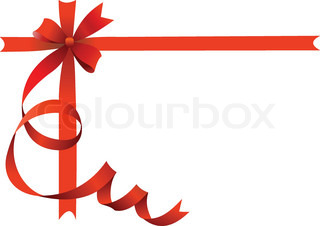 Festive bow on isolated background with place for text. Vector.