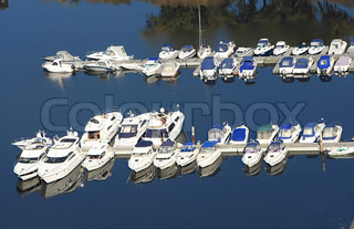 many yachts on the river