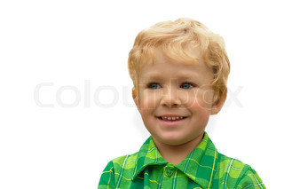 3-years old blond boy with blue eyes, isolated on a white