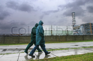 people walking near the Chornobyl Nuclear Power Plant 1