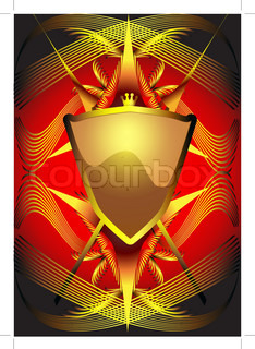 illustration background with shield and weapon with line