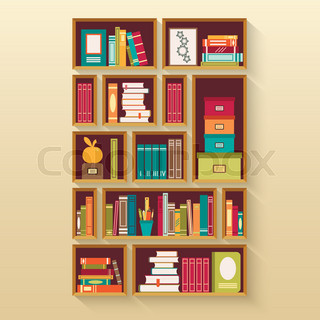 Shelves With Colorful Books In Flat Design Style Vector