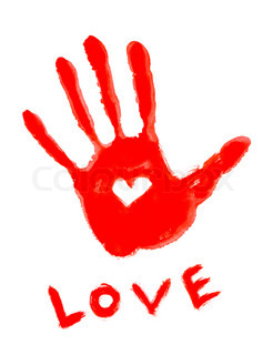 drawing handprint with love symbol and ''love'' word