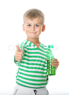 Boy drinking water isolated on white background