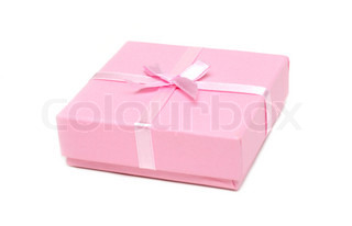 Gift rose box with bow on white background