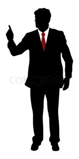 Silhuette of businessman pointing finger