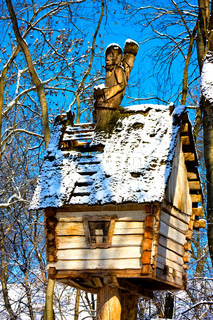 Baba Yaga on the holey roof huts with legs