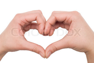 hands in the shape of a heart isolated on white