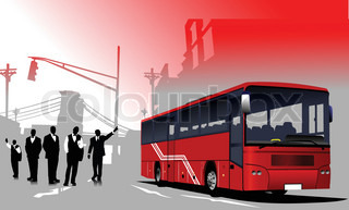 Business people  silhouettes and bus image on urban background. Vector
