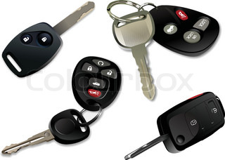 Four Car keys with remote control isolated over white background