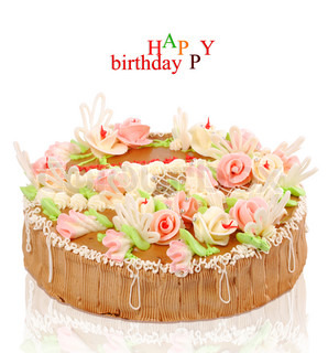 birthday cake with roses on a white background