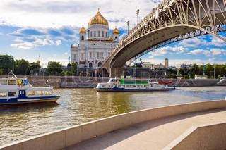 Bridge to Cathedral of Christ the Saviour, Moscow, Russia
