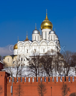 Famous Moscow Kremlin and its beautiful churches