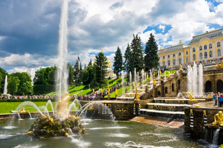 Fountain and Palace in Petrodvorets - Peterhof, Saint Petersburg, Russia
