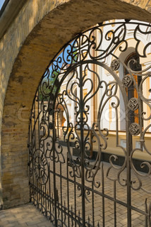 Stone wall and iron gate