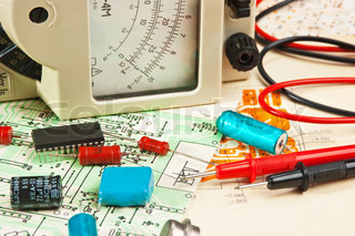 electric meter and electronic components on circuit